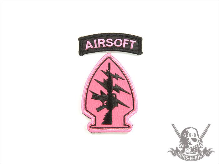 ミリタリーパッチ(ワッペン)「AIRSOFT(ピンク)」