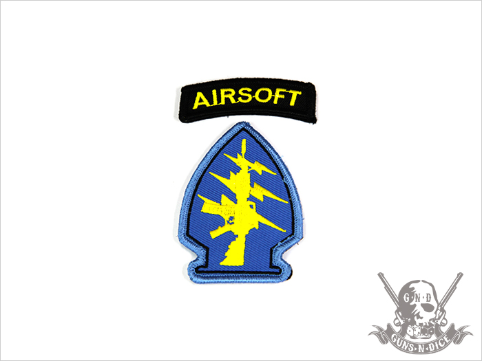 ミリタリーパッチ(ワッペン)「AIRSOFT(ブルー)」
