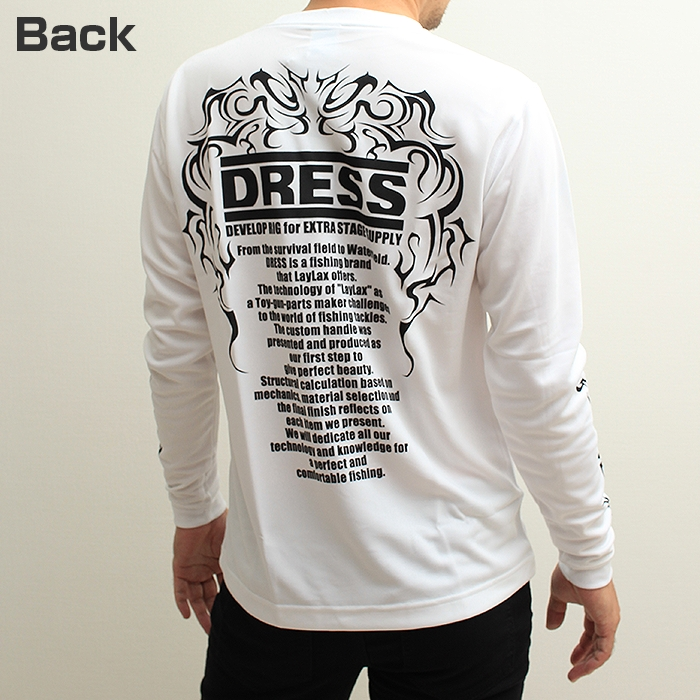 DRESS ドライTシャツ<長袖>ホワイト トライバルVer.