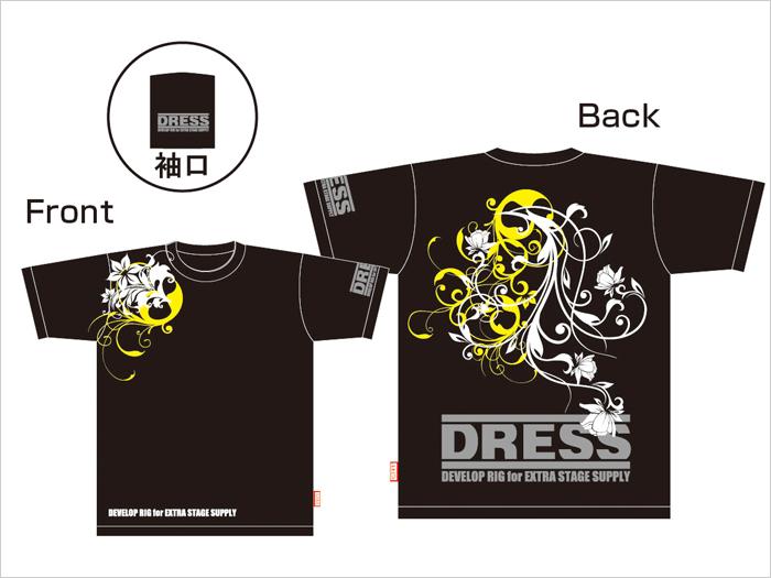 DRESSオリジナルTシャツ フラワーVer. ブラック/イエロー